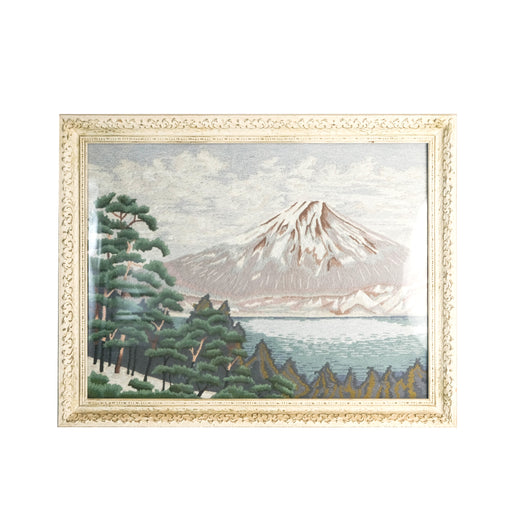 Vintage Mt Fuji Embroidered Art