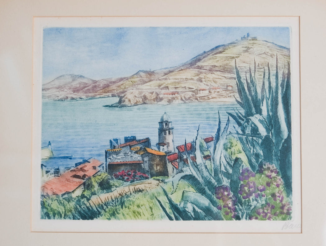 Antique French Prints Signed Marcel Julien Baron Set of Two