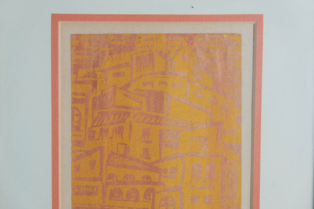 Vintage Orange and Pink Cityscape Print