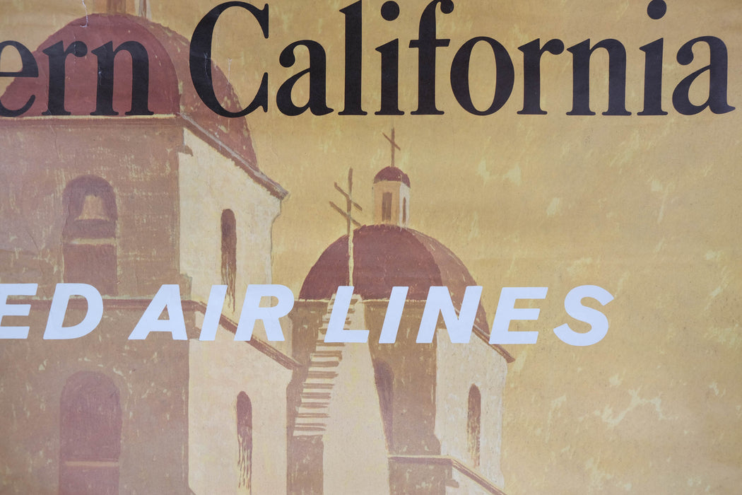 Vintage Southern California Travel Poster Original Stan Galli United Airlines