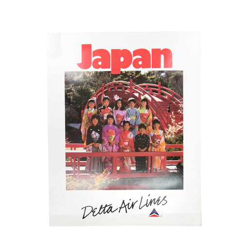 Vintage Japan Travel Poster Original Delta Airlines