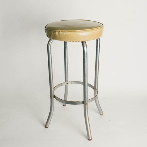 Vintage Chrome and Sage Vinyl Barstool