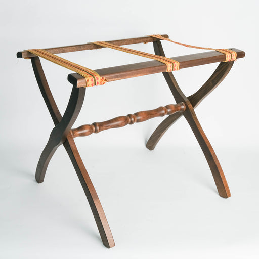 Vintage Folding Luggage Stand with Geometric Straps