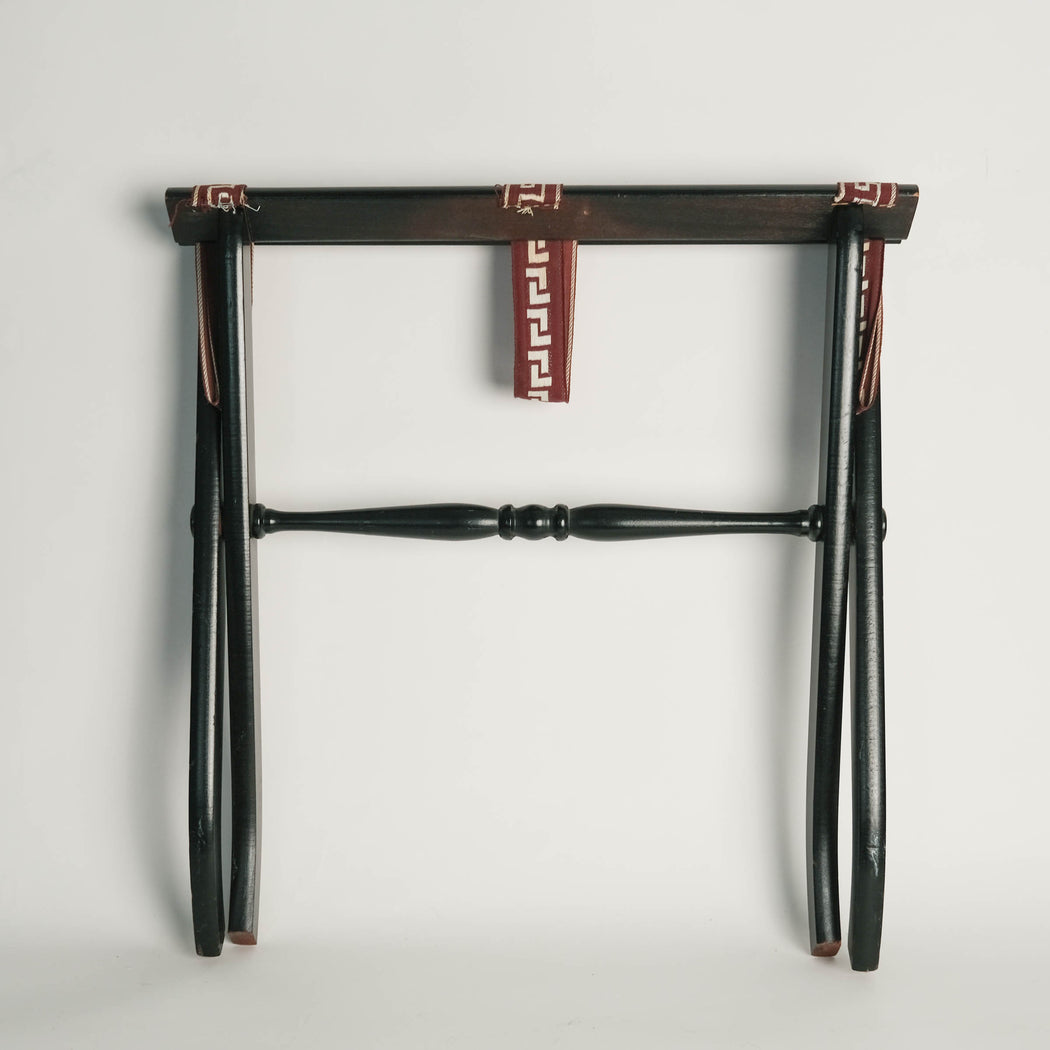 Vintage Black Folding Luggage Stand with Greek Key Straps
