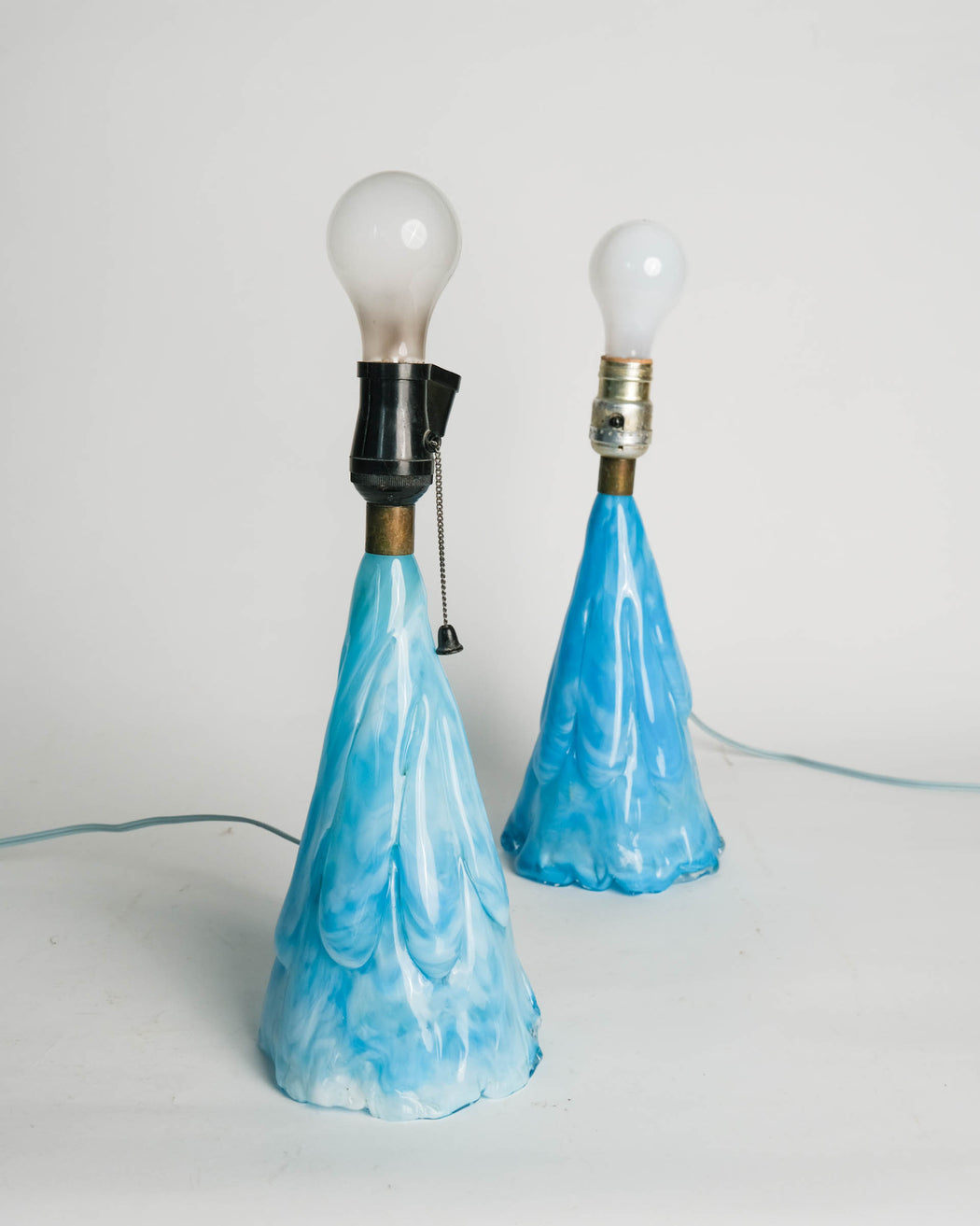 Vintage Baby Blue Blown Glass Table Lamp Pair