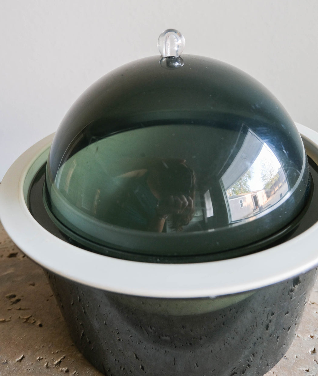 Mid Century Smoky Lucite Ice Bucket