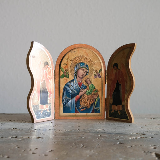 Vintage Our Lady of Perpetual Help Triptych Icon