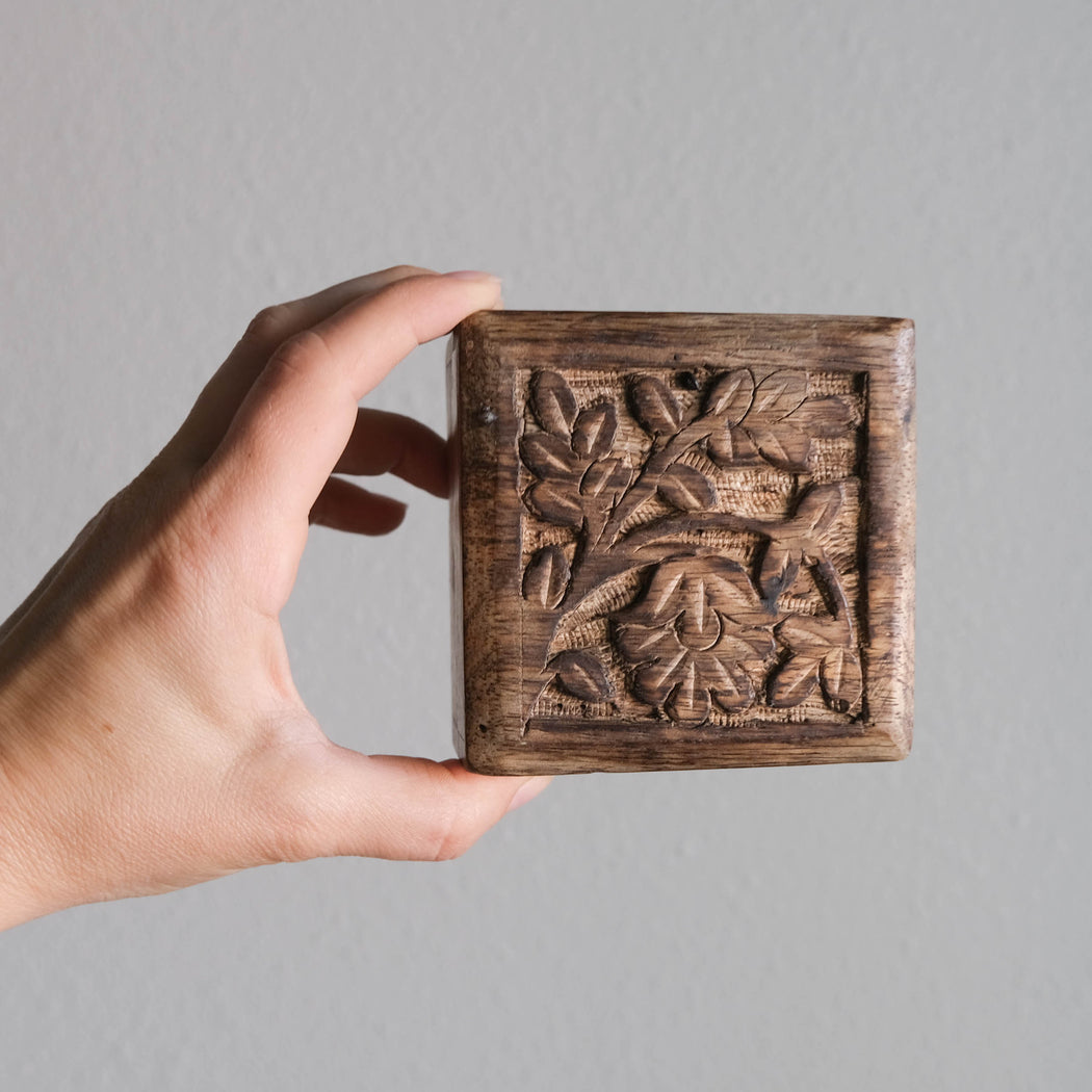 Vintage Hand Carved Mini Wooden Jewelry Box