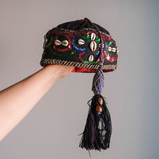 Vintage Moroccan Cap with Tassel Sequins and Cowrie Shells