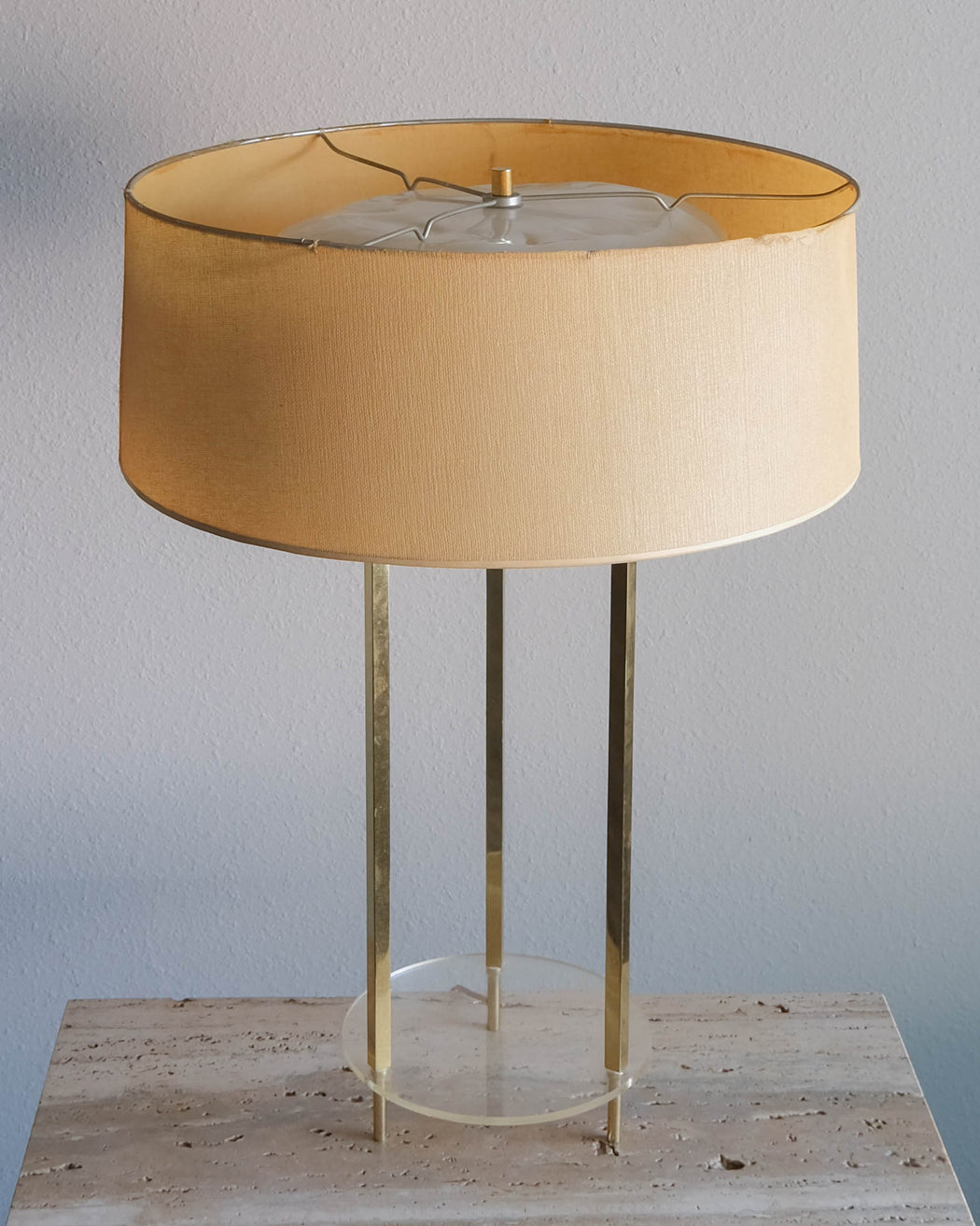 Mid Century Modern Table Lamp | Vintage Brass and Lucite Night Light