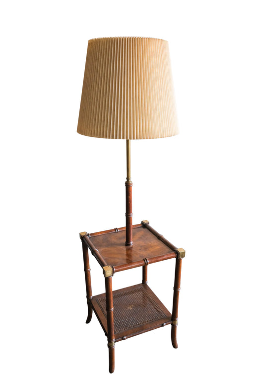 Vintage Bamboo Side Table with Lamp | Caned Floor Lamp Table