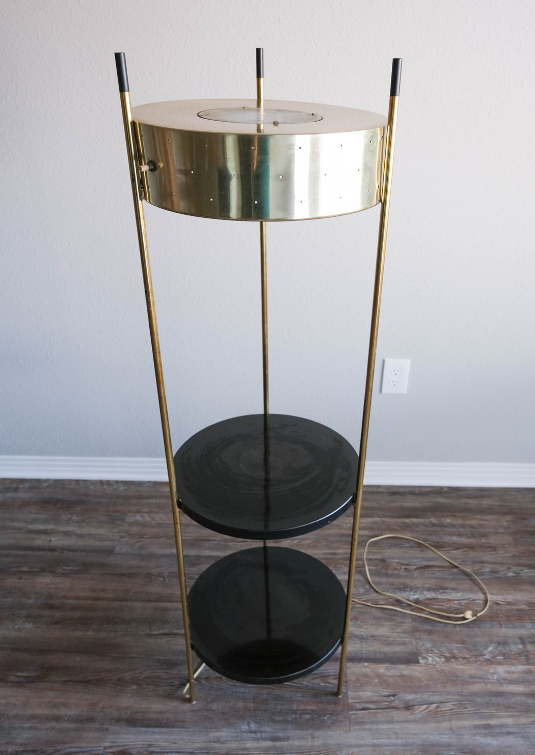 Mid Century Modern Shelf Lamp | Vintage Brass Floor Lamp with Shelves