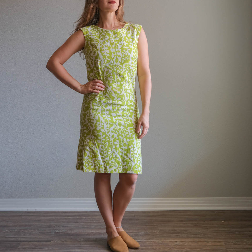 Vintage 60s Lime Green Fitted Dress