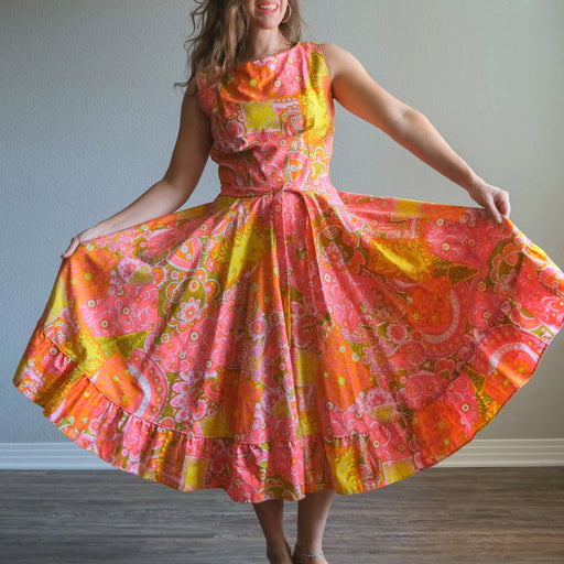 Vintage 60s Psychedelic Neon Flare Dress