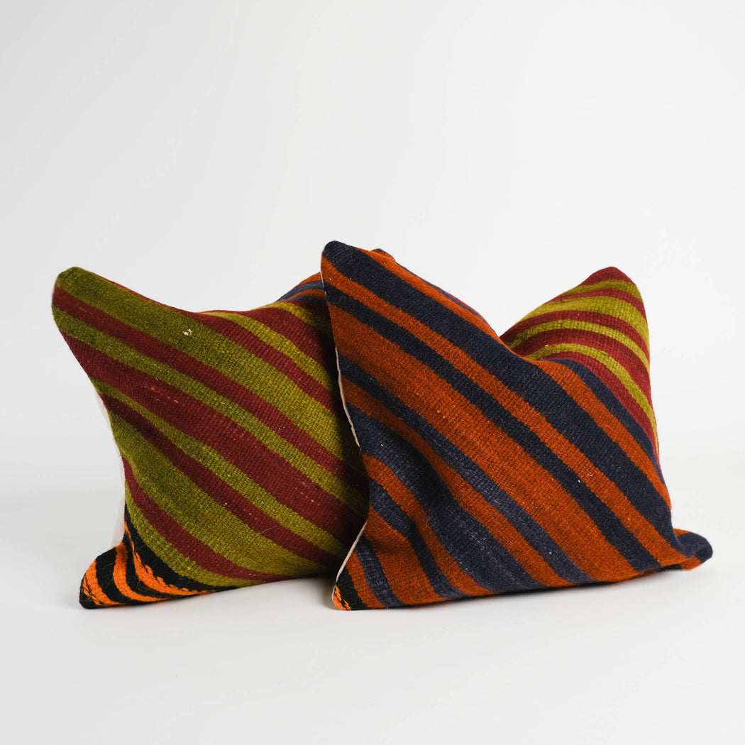 Vintage Turkish Kilim Pillow Pair | Two Colorful Accent Sofa Pillows