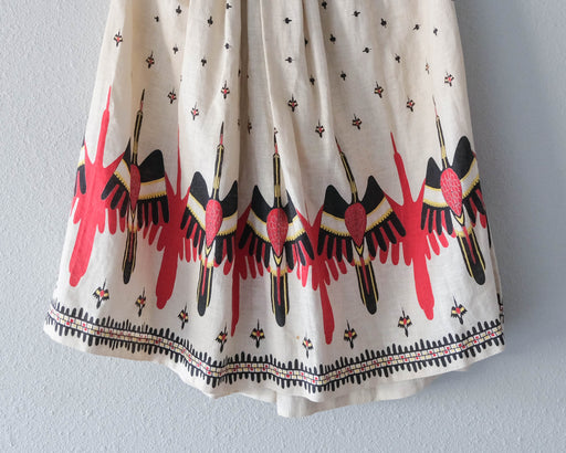 Vintage Linen Novelty Bird Print Skirt