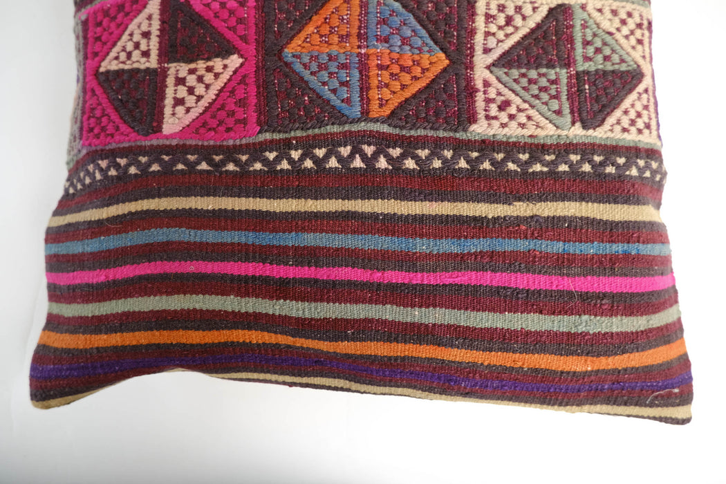 "Large Vintage Turkish Kilim Pillow | 23"" Floor Cushion Pillow Cover"