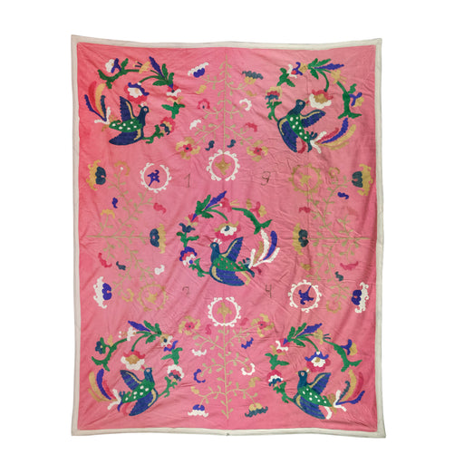 Vintage 1974 Pink Uzbek Suzani Textile Wall Hanging with Birds