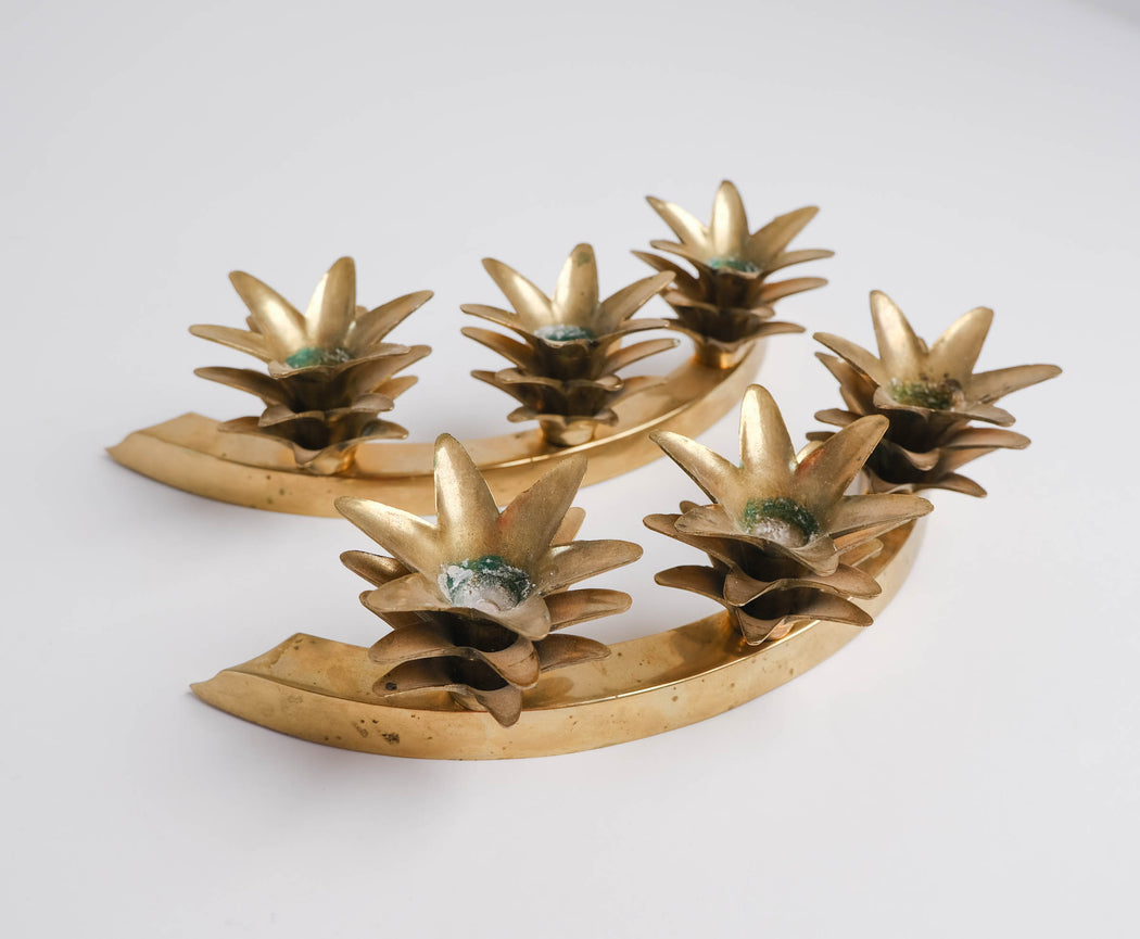 Vintage Brass Pineapple Candle Holders | Semi Circle Candle Ring