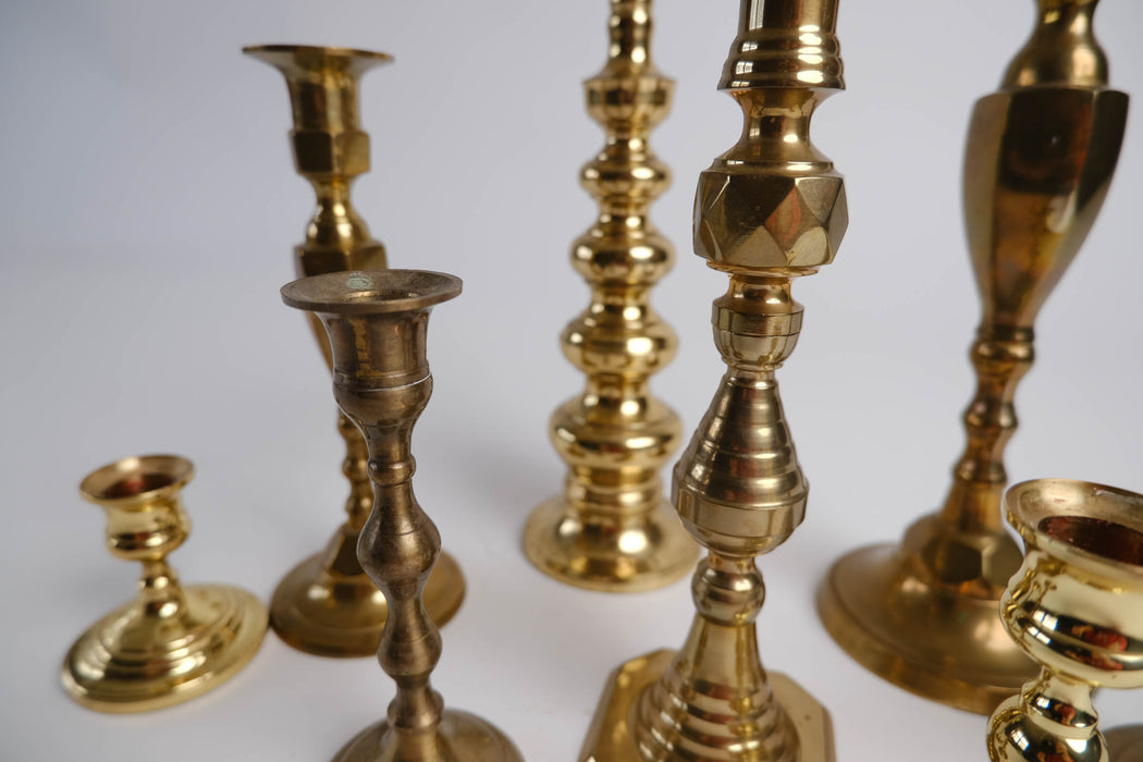 Set of 8 Mismatched Vintage Brass Candlesticks