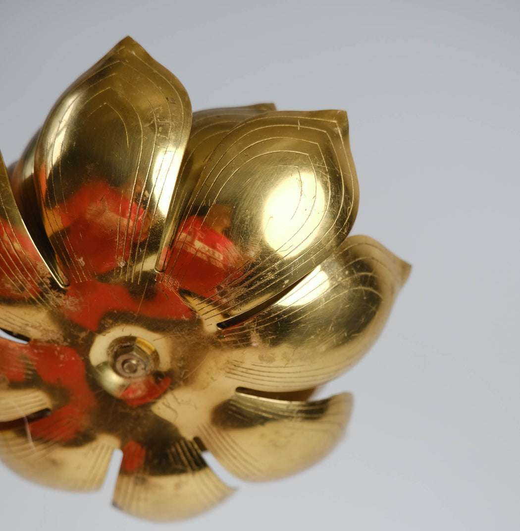 Vintage Brass Lotus Candle Holder