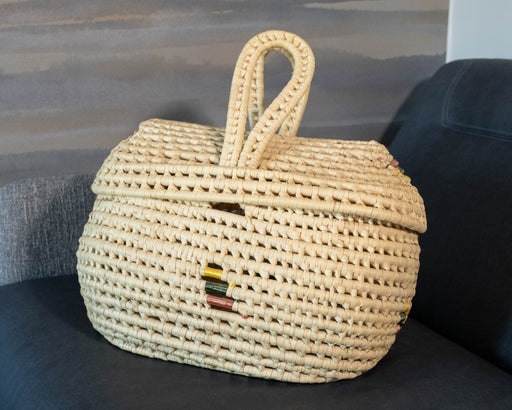 Vintage Wrapped Straw Storage Basket with Lid