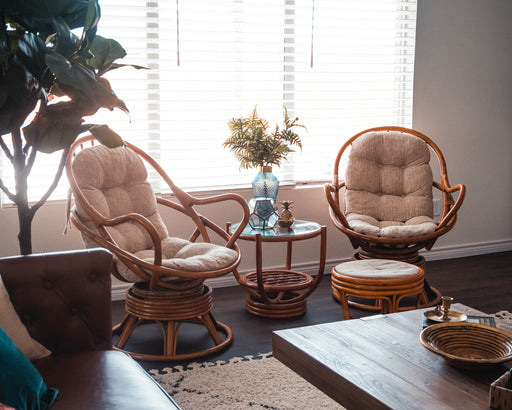 Vintage Rattan Furniture Set | Swivel Chairs with Beige Cushions and Glass Side Table