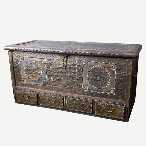 19th Century Brass Sheet and Studded Zanzibar Chest with Secret Compartments