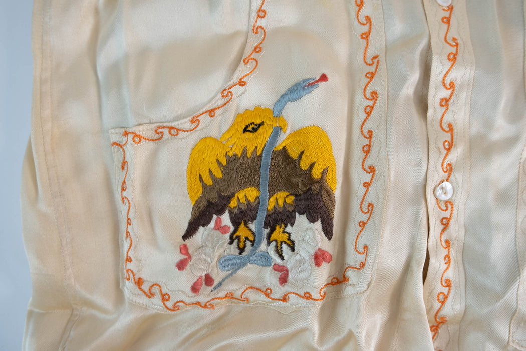 Vintage Embroidered Mexican Coat of Arms Silk Shirt | Women's S/M