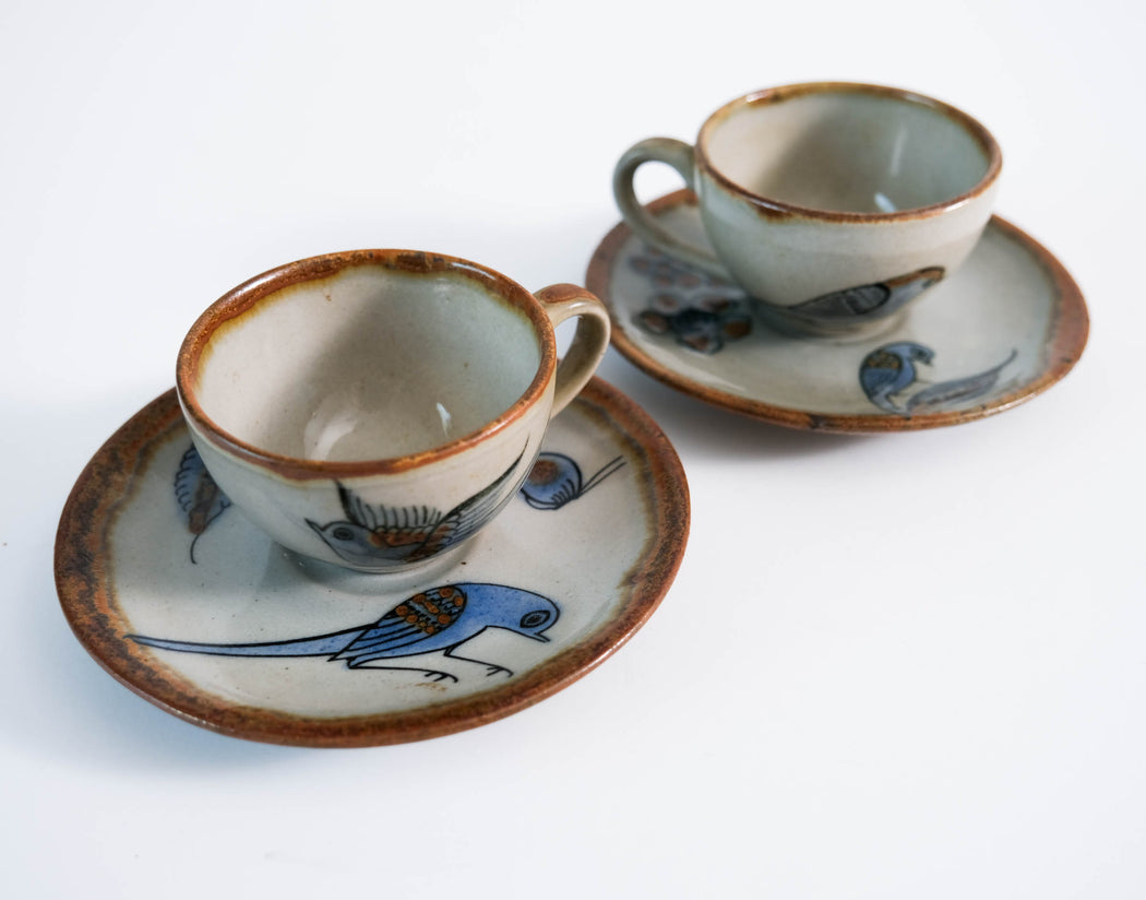 El Palomar Blue Bird Espresso Set | Ken Edwards Tonala Pottery