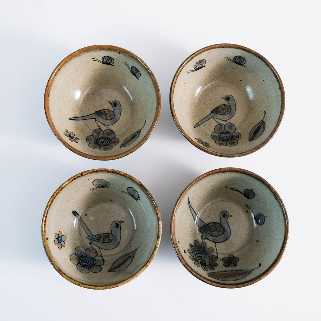 El Palomar Blue Bird Set of 4 Bowls | Ken Edwards Tonala Pottery
