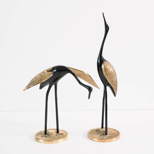 Vintage Black Brass Cranes Bird Figurines Set of Two