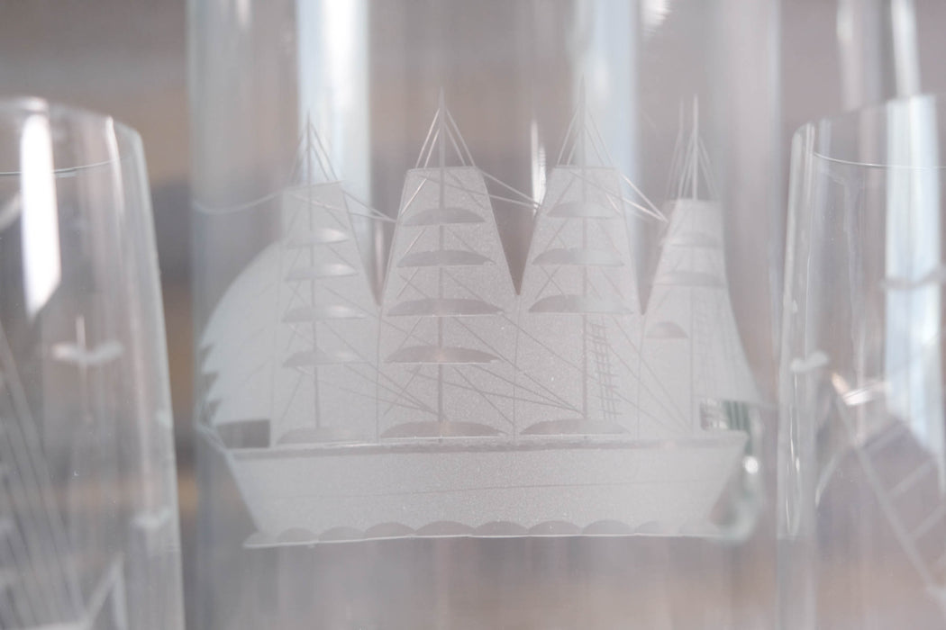 Vintage Clipper Ship Etched Crystal Barware Set | Pitcher and Glasses