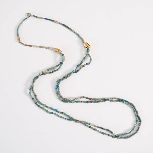 Ancient Egyptian Mummy Beads | Blue Faience and 22k Gold Necklace