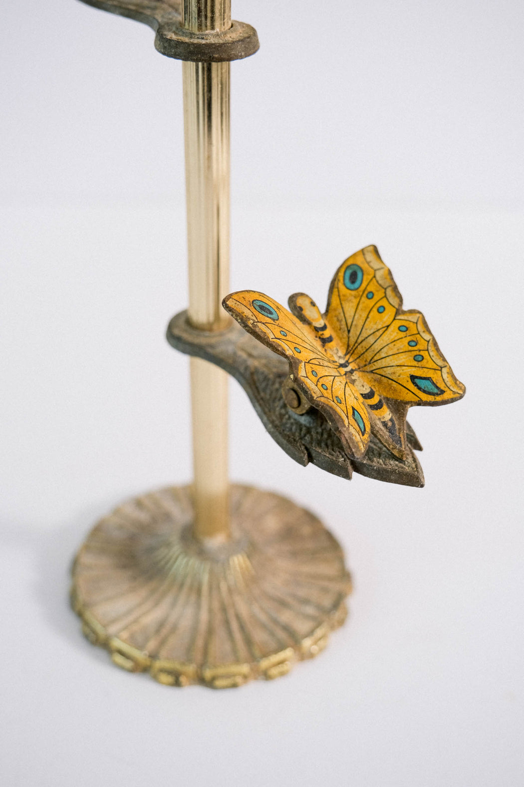Vintage Yellow Butterfly Brass Letter Holder