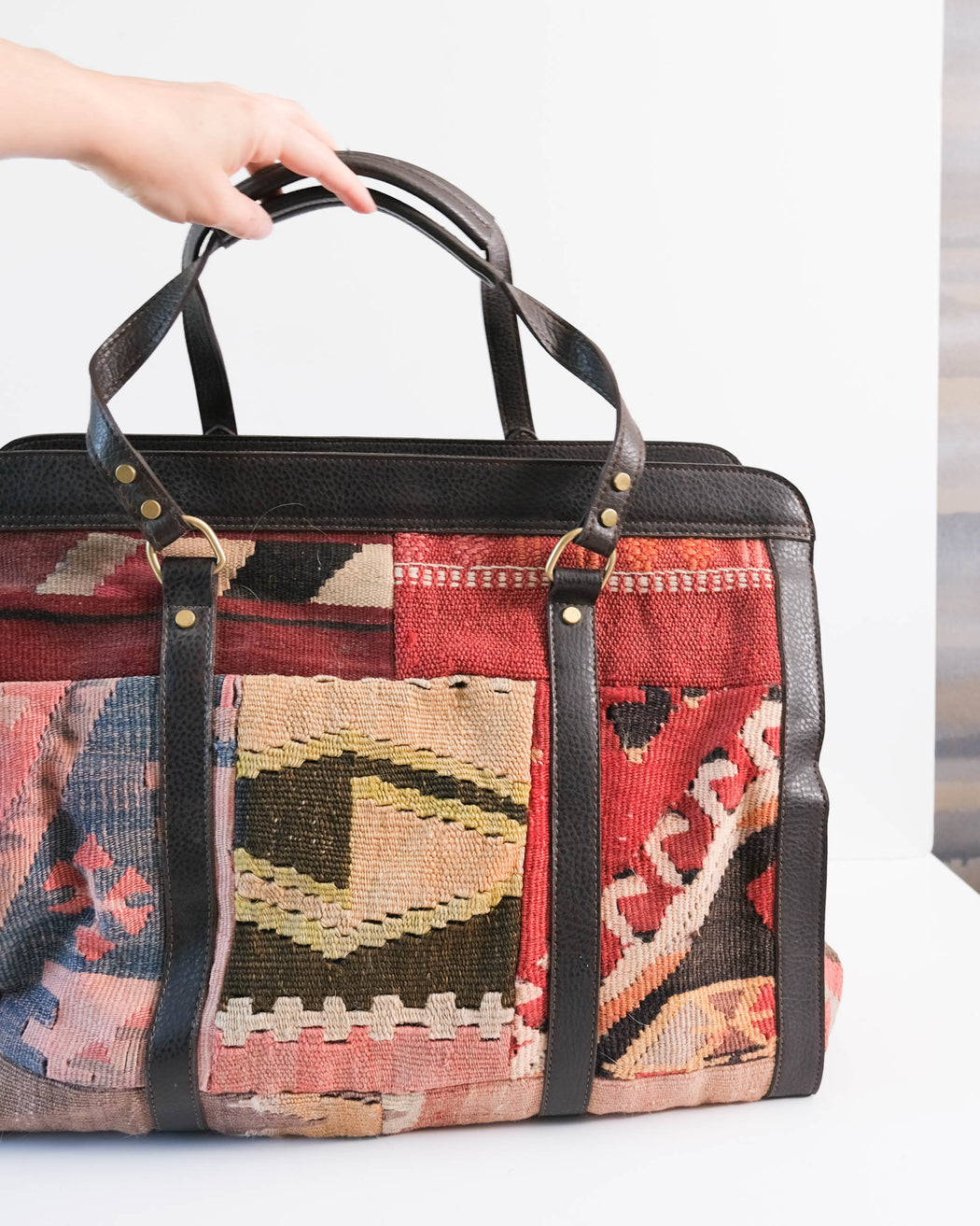 Vintage Turkish Kilim Duffel Bag