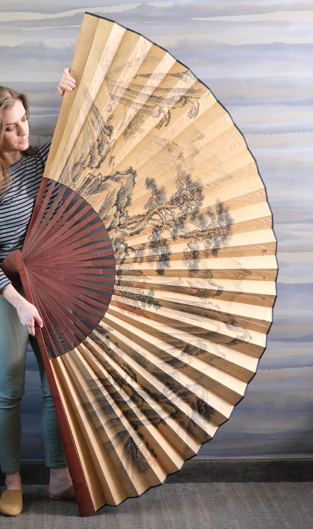 Vintage 6 Foot Chinese Wall Fan Hand Painted