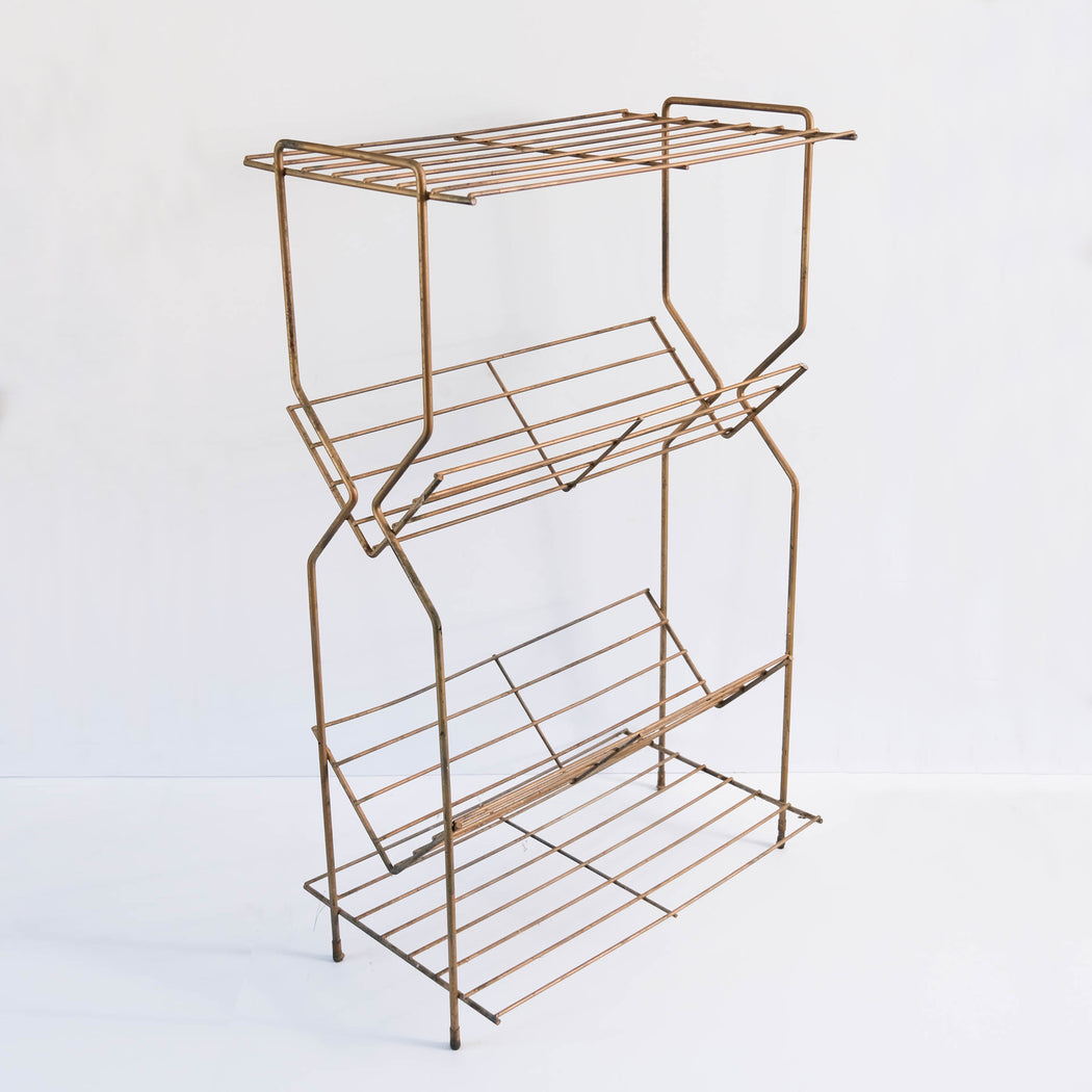 Mid Century Gold Metal Shelf Book Rack