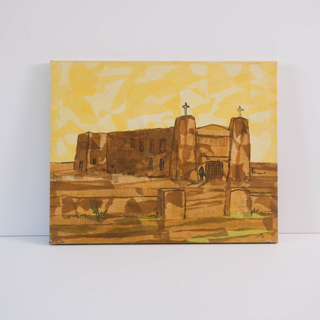 Vintage Yellow Torn Paper Mission Church Art