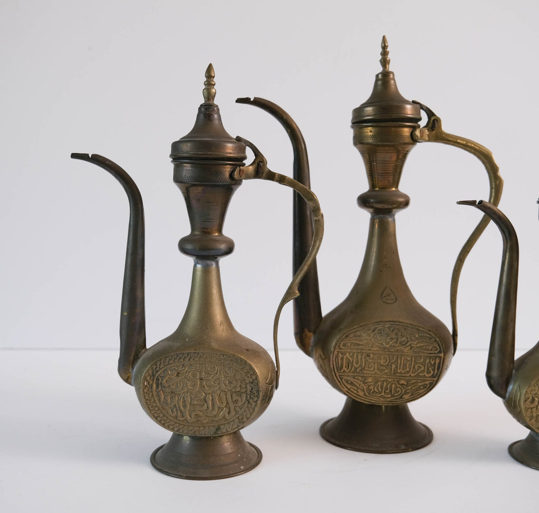 Set of Three Vintage Brass Aftaba | Middle Eastern Decor