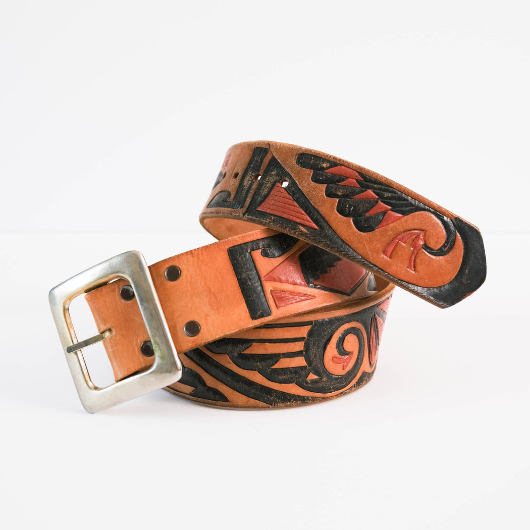 Vintage Southwest Tooled Leather Belt