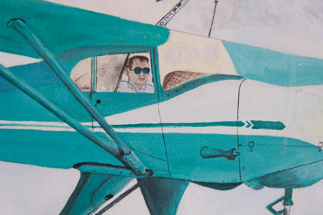 Vintage Airplane Painting | Piper Vagabond Taildragger