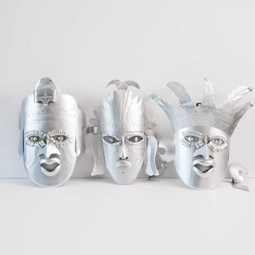 Set of 3 Taxco Tin Wall Masks
