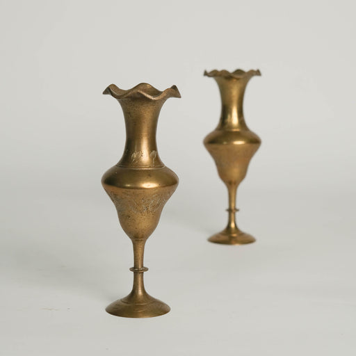 Set of Two Vintage Indian Brass Candlesticks