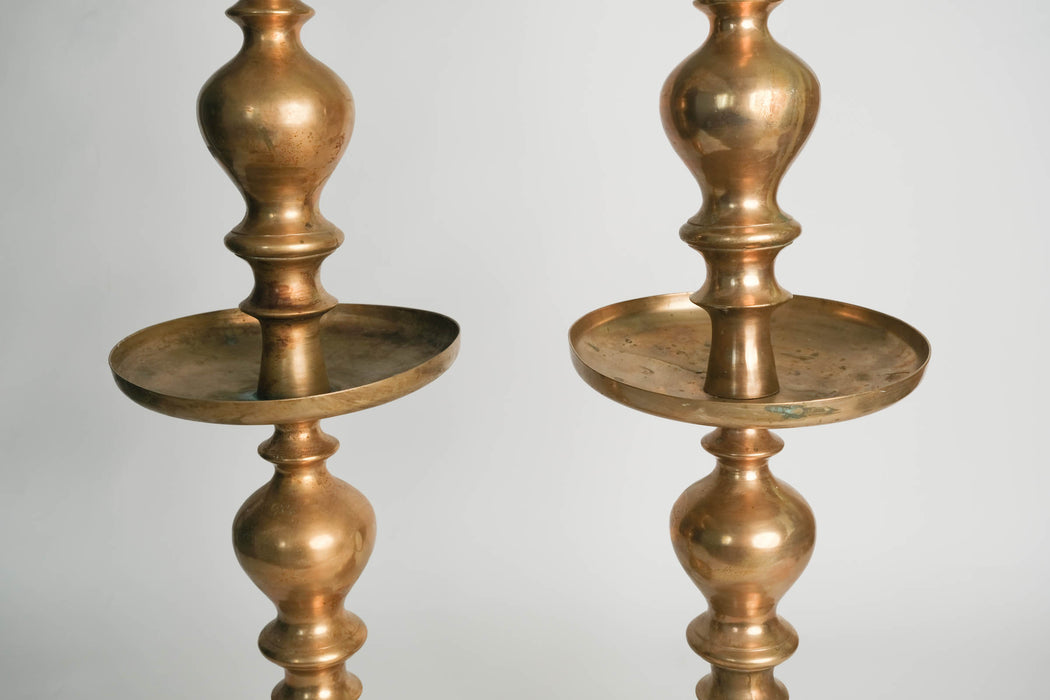 "Vintage 36"" Indian Brass Candlesticks Pair"