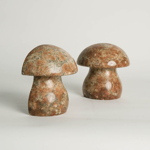 Vintage Alabaster Mushroom Bookends ABF Italy