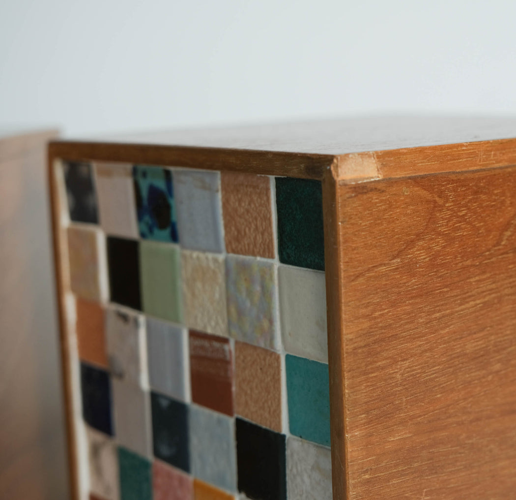 Vintage Mosaic Block Bookends