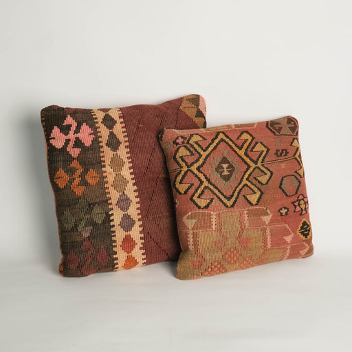 Vintage Turkish Kilim Pillows | Set of Two Accent Pillow Covers