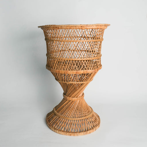 Vintage Standing Wicker Basket Planter