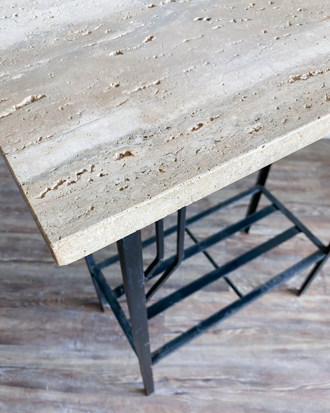 Vintage Italian Travertine Console Table